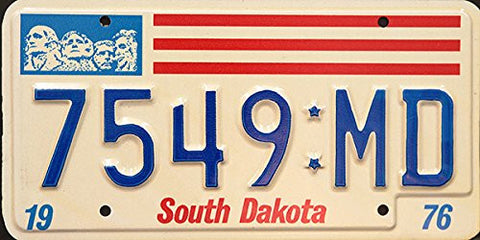 South Dakota State License Plate Blue Letters on White with Red Stripes and Mt Rushmore on Top Left
