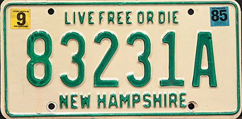 New Hampshire Live Free or Die License Plate From Around the 1980's White with Green Numbers