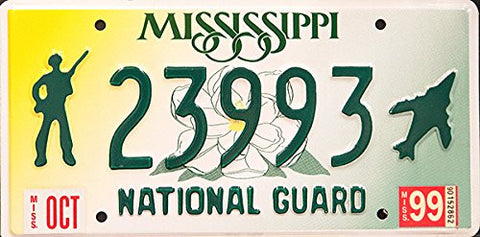 "Mississippi National Guard"" License Plate with Green Numbers"""