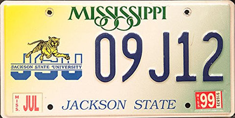 Mississippi State License Plate Jackson State University Logo and Tiger . Blue Letters on Yellow, White and Green Backround