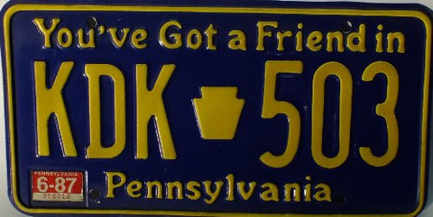 Pennsylvania You've got a friend in License Plate yellow numbers on blue