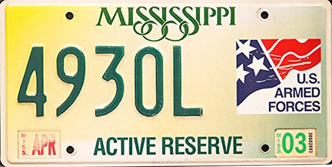 Mississippi Armed Forces Active Reserve State License Plate Green Letters on White