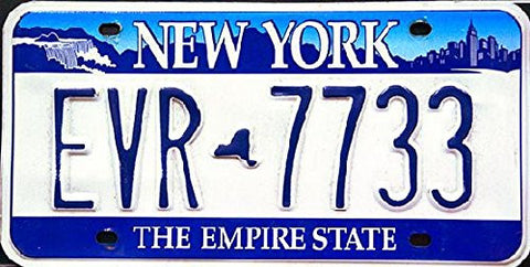 New York Empire State License Plate with Blue Numbers on White Backround