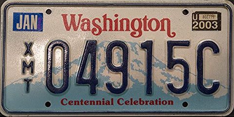 Washington State License Plate Blue Letters on White and Blue Mountain Background Centennial Celebration