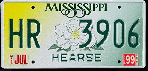 Mississippi Hearse State License Plate Green Letters on Yellow White and Green with Rose