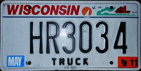 Wisconsin Truck State License Plate with Black Letters on White Backround