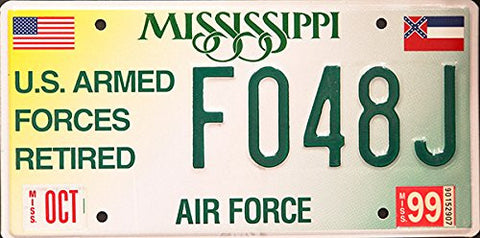 Mississippi Air Force State License Plate Us Armed Forces Retired Green Letters on White