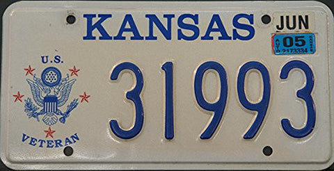 Kansas State License Plate with U.s Veteran Logo and Blue Letters on White