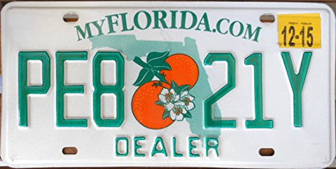Florida State License Plate Dealer with Green Letters One White Backround with Double Oranges and Florida Map