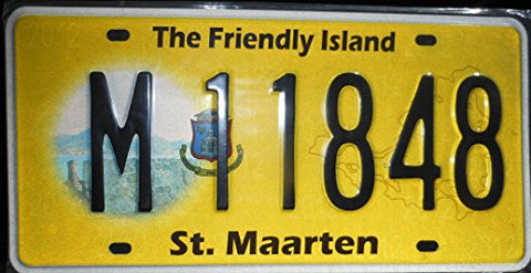 "St. Maarten License Plate "" the Friendly Island""black Letters on Yellow Backround with Hologram Image"