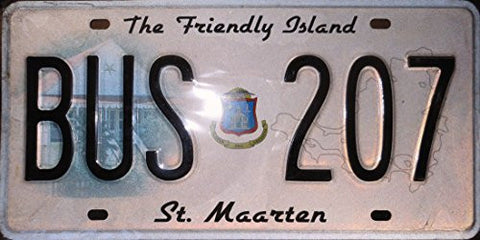 St. Maarten License Plate Black Letters on Pink Backround with Graphic House