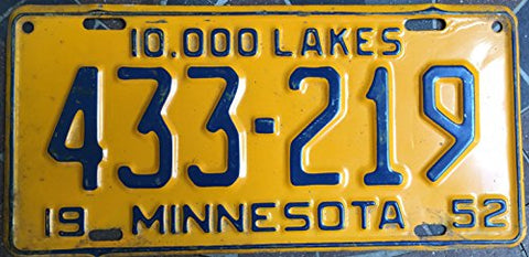 Minnesota State License Plate 52 Yellow