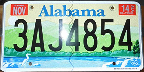 Alabama State License Plate Black Letters on Yellow Sky Green Mountains and Blue Lake