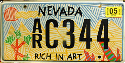 "Nevada State License Plate Flat ""Rich in Art"" Black Letters on Blue Yellow and Red Backround"