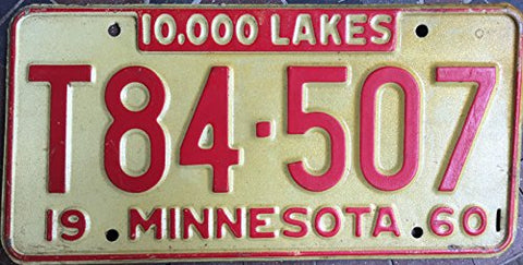 Minnesota State License Plate 60 Red