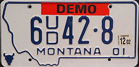 Montana State License Plate Blue Letters on White