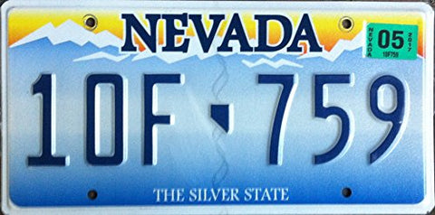 Nevada State License Plate Embossed