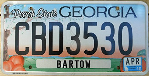 Georgia Peach State License Plate black numbers on blue and orange sky with peach tree and 4 peaches flat non-embossed