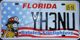 Florida State License Plate Firefighters plate, black letters on flag with fireman