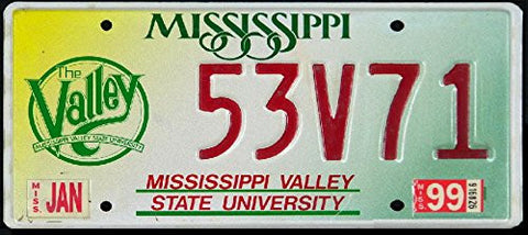 Mississippi State License Plate with Valley State University Logo and Red Letters on Yellow White and Green