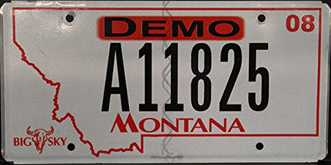 Montana State License Plate Black Letters on White and Red Outline And Demo logo