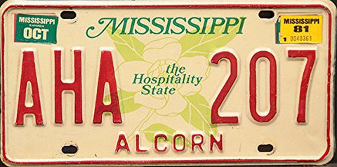 Mississippi Hospitality State License Plate red numbers on white with green Camelia