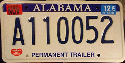 "Alabama State License Plate"" Permanent Trailer"""
