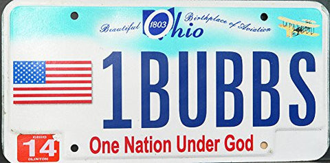 Ohio State License Plate One Nation Under God Blue Letters on Blue and White with American Flag