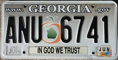 Georgia State License plate black letters on grey white backround with peach