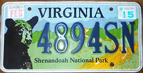 "Virginia State License Plate ""Shenandoah National Park"" with Blue Letters on Blue, Green& Yelllow Backround with Bear"