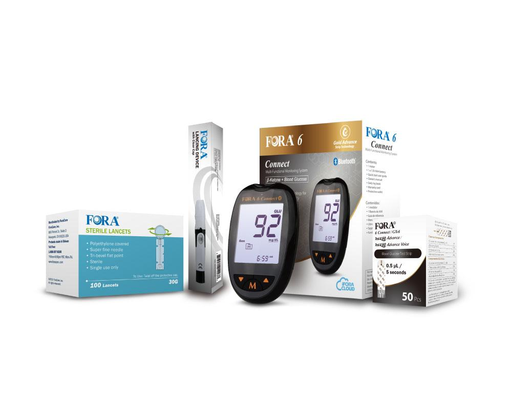 Fora Care Inc. Blood Glucose Meter FORA 6 Connect BG50 Blood Glucose Testing Kit (50 Gold Advance Glucose Strips)