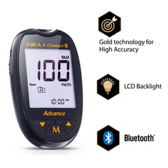 Fora Care Inc. Blood Glucose Meter FORA 6 Connect Blood Glucose Testing Kit (50ct Gold Advance Glucose strips)