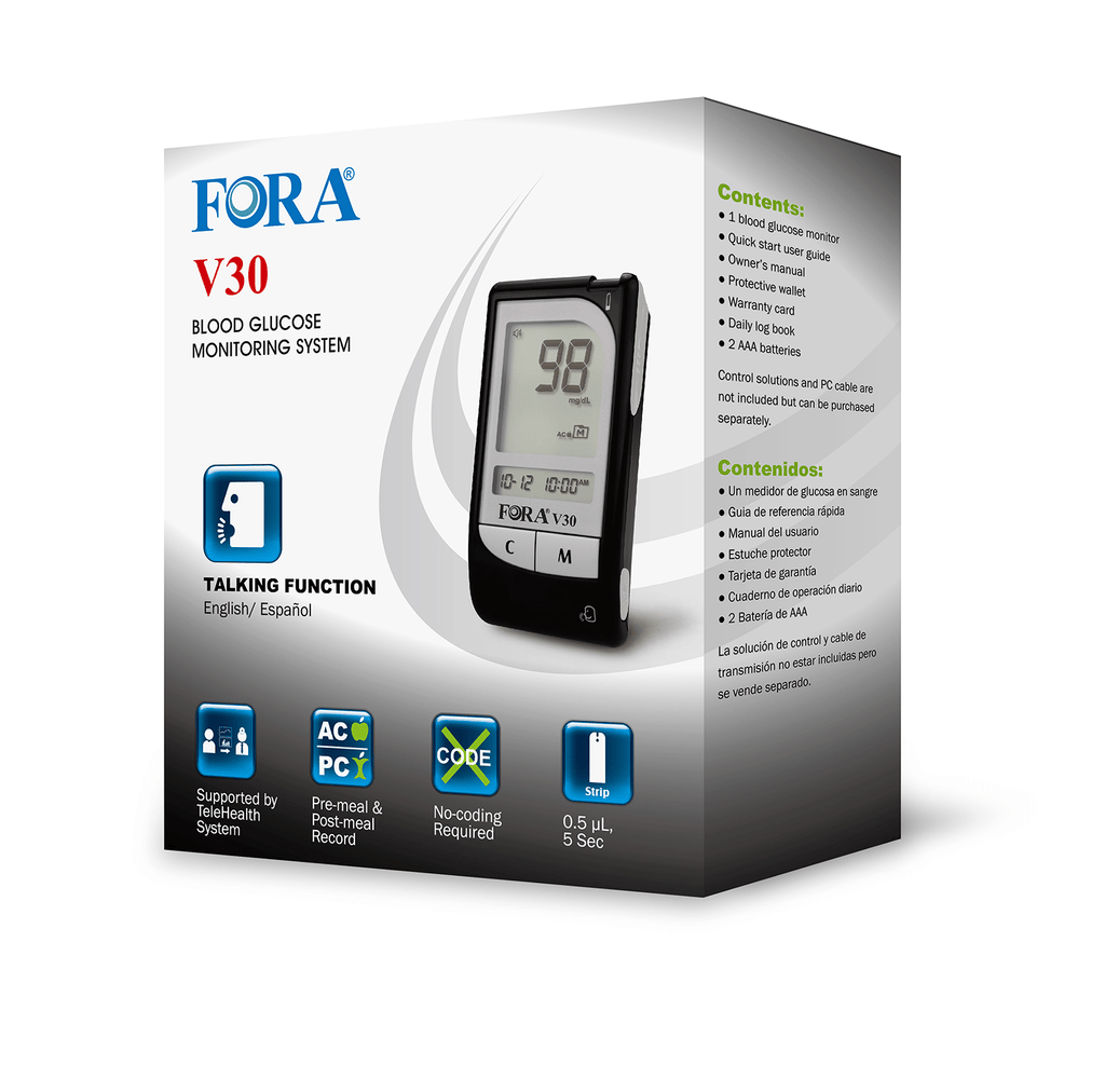 Fora Care Inc. Blood Glucose Meter FORA V30a Talking Blood Glucose Meter (English / Español)