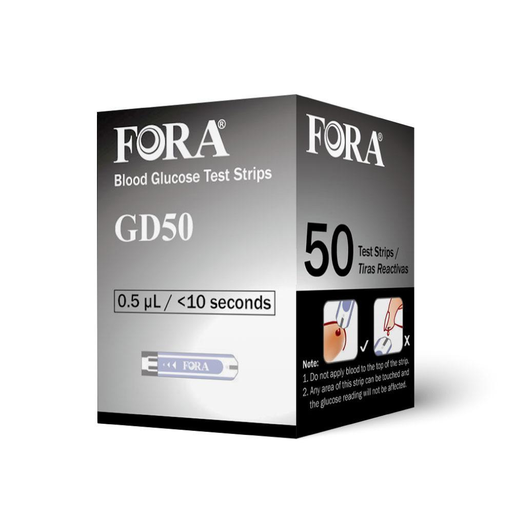 Fora Care Inc. Blood Glucose Test Strips [Short-Dated] FORA GD50 (50 Blood Glucose Test Strips), Expires 2019Dec31