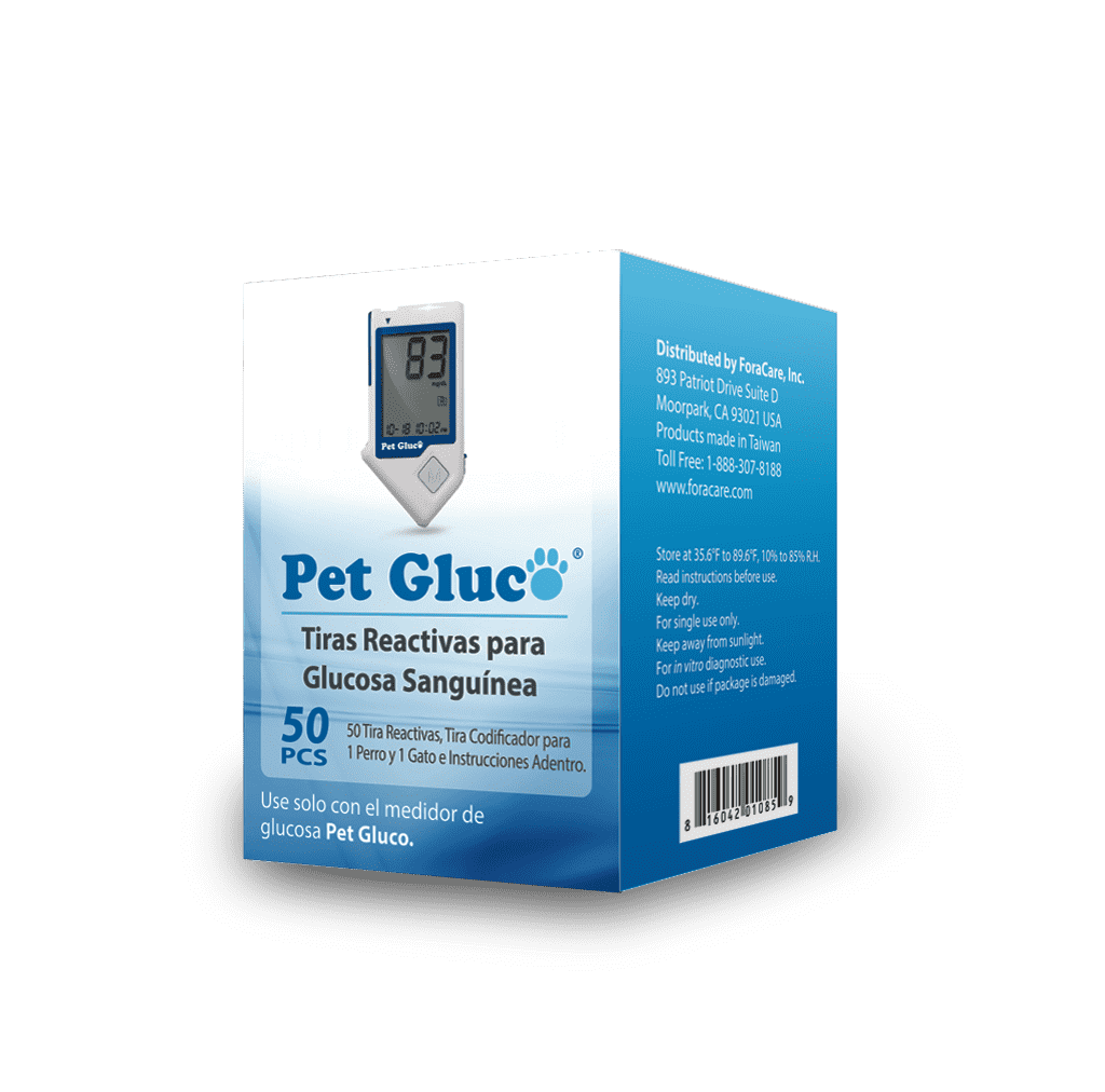 ForaCare Inc. PET GLUCO Blood Glucose Test Strips (50 Count) Expires 8/31/2020