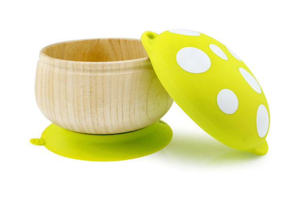 Green Wooden Mushroom Baby Bowl and Plates
