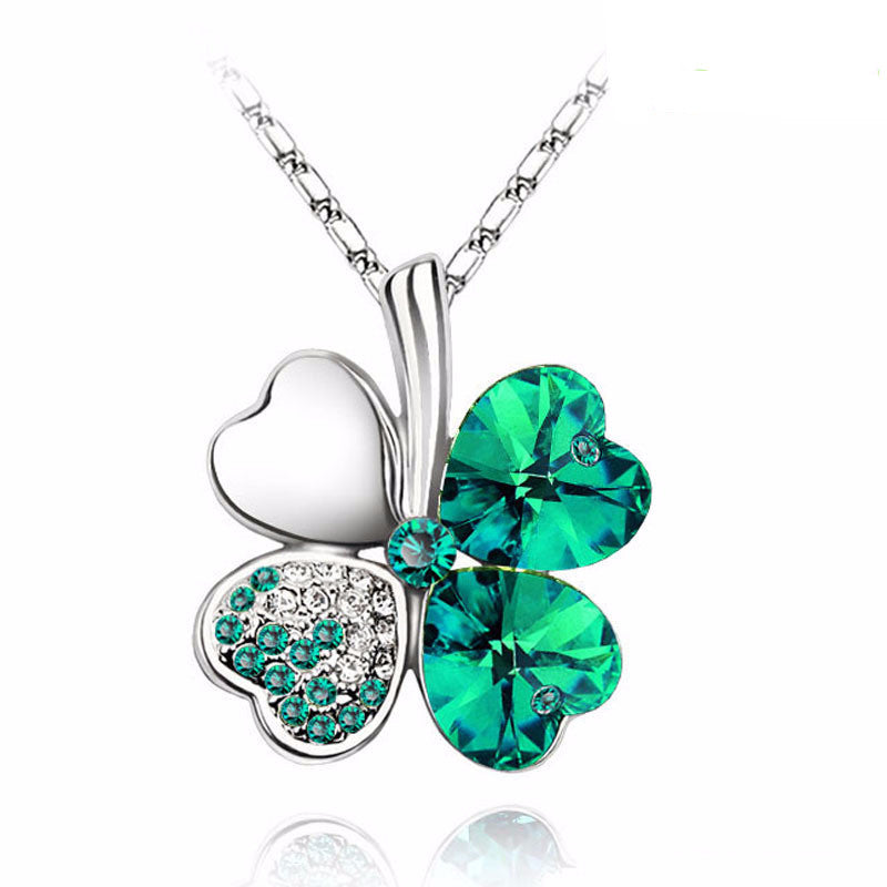 Gemstone 4 Leaf Clover Necklace - Shevoila Jewelry & Clothing - 1