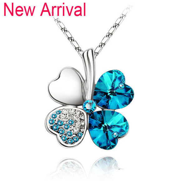 Gemstone 4 Leaf Clover Necklace - Shevoila Jewelry & Clothing - 19