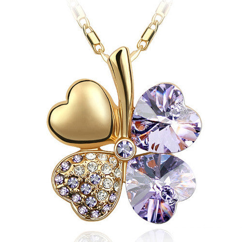 Gemstone 4 Leaf Clover Necklace - Shevoila Jewelry & Clothing - 13