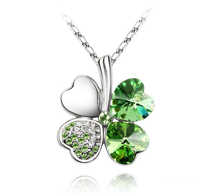 Gemstone 4 Leaf Clover Necklace - Shevoila Jewelry & Clothing - 6