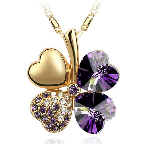 Gemstone 4 Leaf Clover Necklace - Shevoila Jewelry & Clothing - 2