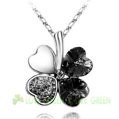 Gemstone 4 Leaf Clover Necklace - Shevoila Jewelry & Clothing - 17
