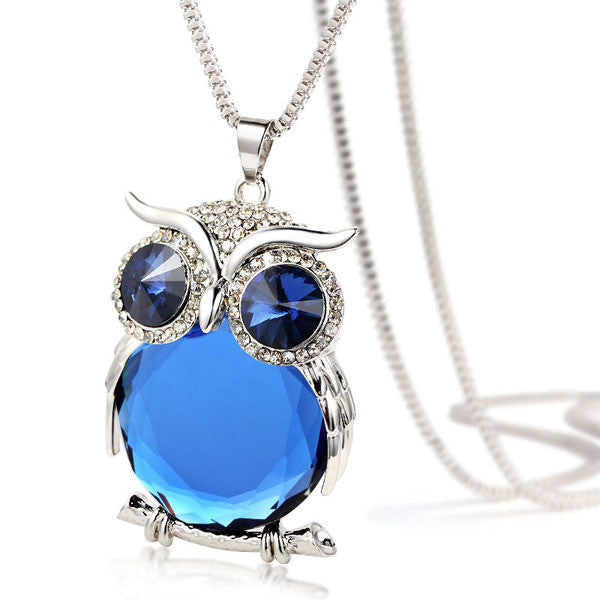 Crystal Owl Necklace - Shevoila Jewelry & Clothing - 1