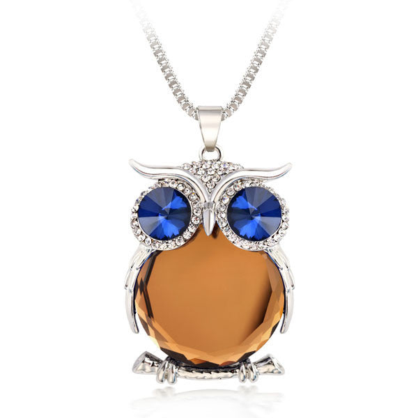 Crystal Owl Necklace - Shevoila Jewelry & Clothing - 3