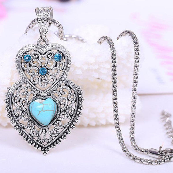 Double Heart Turquoise Necklace - Shevoila Jewelry & Clothing - 2
