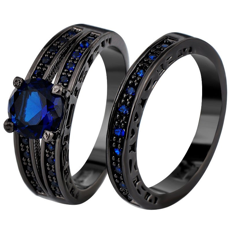 Sapphire & Black Gold Rings - Shevoila Jewelry & Clothing - 1