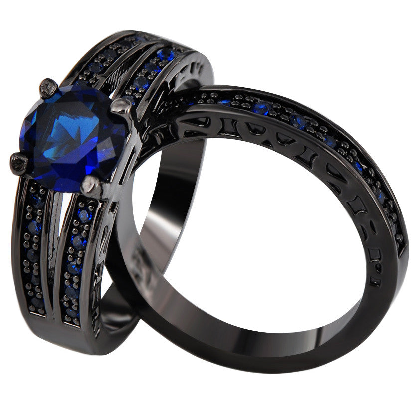 Sapphire & Black Gold Rings - Shevoila Jewelry & Clothing - 2