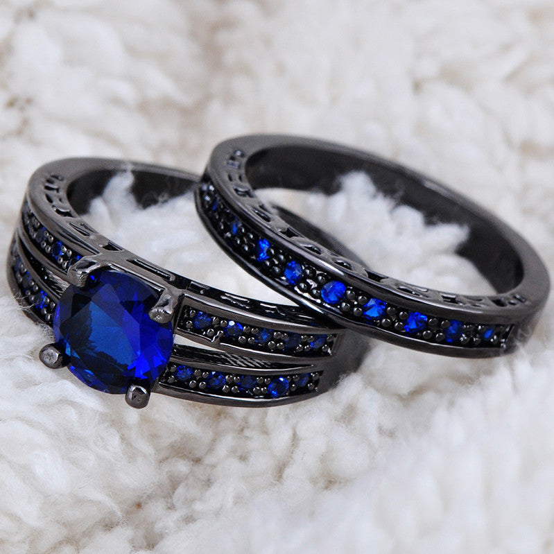 Sapphire & Black Gold Rings - Shevoila Jewelry & Clothing - 4