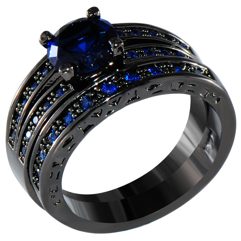 Sapphire & Black Gold Rings - Shevoila Jewelry & Clothing - 3
