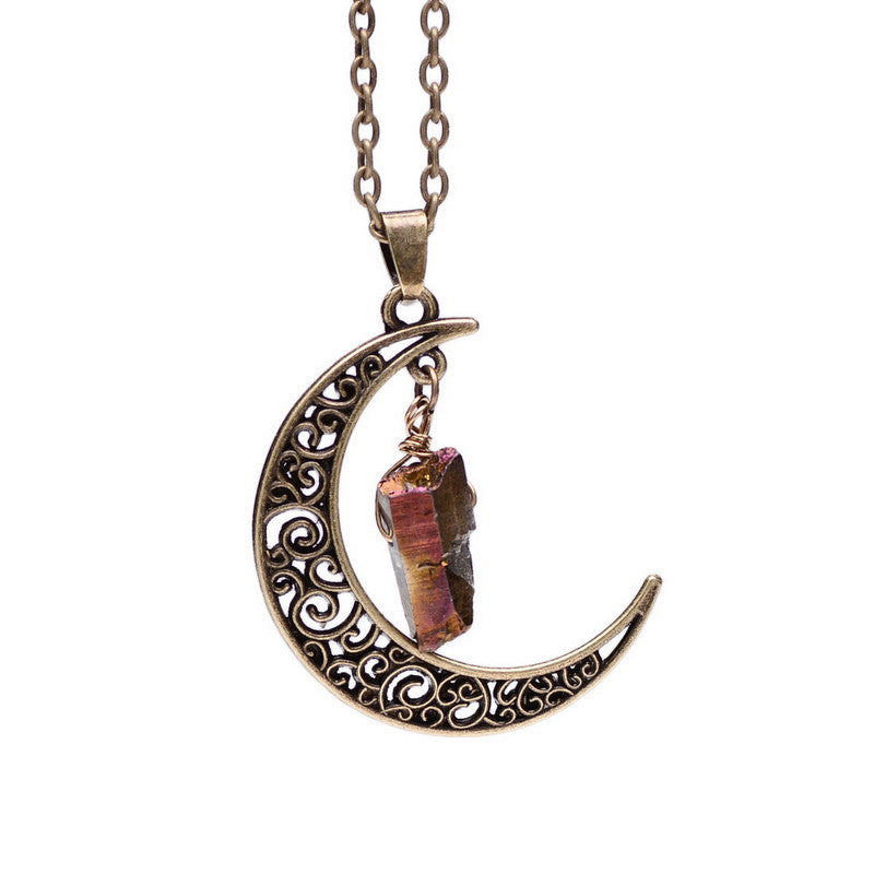 Natural Gemstone Moon Necklaces - Shevoila Jewelry & Clothing - 3